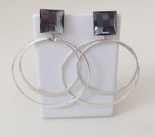 """New in Box Avon Double Hoop Drop Post Earrings - 1 1/2"""" & 2"""" Silver Hoops"""