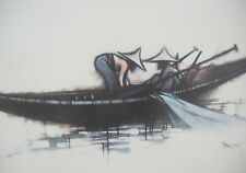 Vintage 1970's Athena print of Asian fishermen by Colin Paynton