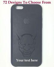 """Personalizzato Inciso Nero PU Pelle iPhone 6 4.7"""" COVER .72 Design Scelta"""