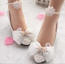 Decolté decolte scarpe donna ballerina bianco perle sposa 3.5, 4.5 8 11 9342