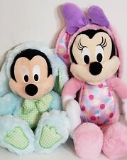 Mickey & Minnie Mouse Easter Bunny Rabbit plush dolls * Disney Store * Blue Pink