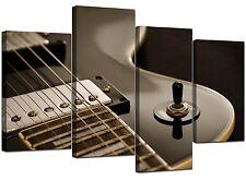 Large Black Electric Guitar Canvas Wall Art Pictures XL Prints 4125