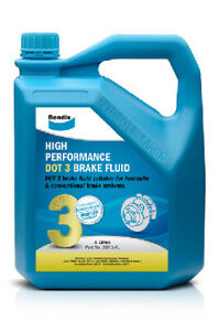 Bendix High Performance Brake Fluid DOT 3 4L BBF3-4L fits Peugeot 206 1.4 16V...