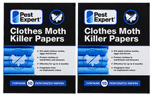 Pest Expert® Clothes Moth Killer Strips Papers (Twinpack) X2