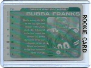 1/1 BUBBA FRANKS ROOKIE GREEN BAY PACKERS 2000 PARAMOUNT PRINTING PLATE 1 OF 1