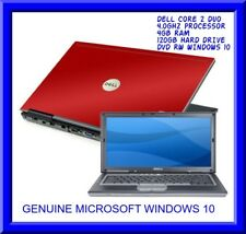 Cheap fast Red dell laptop Windows 10 DVD Core 2 Duo 4GB Ram 120GB HDD Wifi dvd