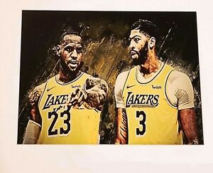 LeBron James & Anthony Davis Canvas Graffiti Art Wood Framed Glass 11X14 Champs