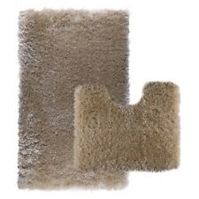 Luxurious Thick Bath Mats Shaggy Washable 2 Piece Set Toilet Rug, Sheeplin-Beige