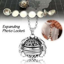 Expanding Photo Locket Necklace Silver Ball Angel Wing Pendant Memorial 2020