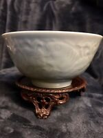 Vtg Chinese Longquan Porcelain Celadon Glaze W/Relief Carved Koi Fish Tea Bowl
