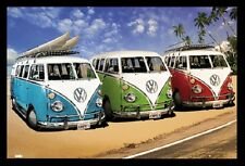 (FRAMED) VW BEACH CAMPERVAN POSTER PRINT PICTURE - READY TO HANG ART NEW