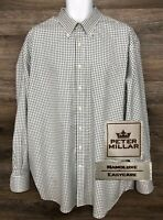 Peter Millar NanoLuxe Men's Green Check-Plaid Long Sleeve Button-Down Shirt XXL
