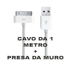 Mini Carica Batteria USB Da Muro Per Iphone 3GS 4 4S Ipad Bianco Con Cavo 1 M