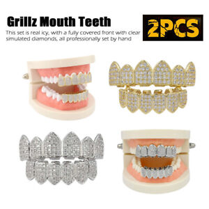 Silver Gold Plated Cubic Zirconia Top & Bottom Grillz Mouth Teeth Bling Bling US
