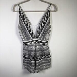 Bec and Bridge womens black white striped playsuit romper size 8 sleeveless