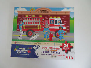"""White Mountain """"Fire Fighter"""" 24 Pc Kids Floor puzzle Seek & Find ~ Complete"""
