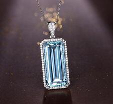 SOLID 18Kt WHITE GOLD NATURAL DIAMOND GORGEOUS LIGHT BLUE AQUAMARINE PENDANT