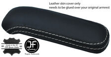 GREY STITCH TOP GRAIN REAL LEATHER ARMREST COVER FITS AUDI TT MK2 07-14