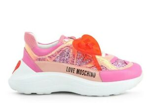 LOVE MOSCHINO WOMEN SNEAKERS MULTICOLOR PINK RUNNING STYLE JA15196G1BII 460A