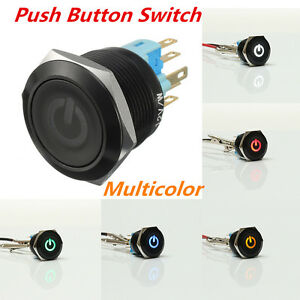 BLACK 6 Pin 22mm Led Light Metal Push Button Momentary Power Symbol Switch 12v