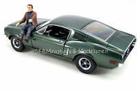 FORD MUSTANG GT FASTBACK 1968 DU FILM BULLIT + FIGURINE STEVE MC QUEEN 1/18