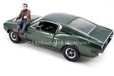 FORD MUSTANG GT FASTBACK 1968 DU FILM BULLIT + FIGURINE STEVE MC QUEEN 1/18
