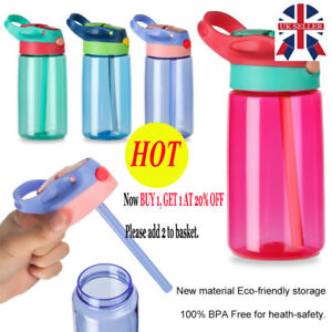 Children Kids BPA Free Water Bottle with Straws Drinking Cup Bottle Leak Proof