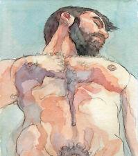 ORIGINAL LARGE MALE NUDE Watercolor -ULYSSES II- by GERMANIA