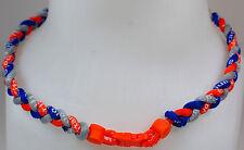 "New! 20"" Custom Clasp Braided Sports Orange Gray Royal Blue Tornado Necklace"