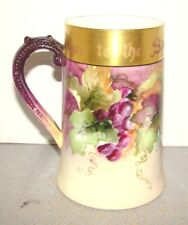 Willets Belleek Hand Painted Grapes Mug Stein