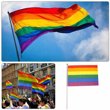 10PCS Rainbow Flag Polyester Flag Gay Pride Lesbian Peace LGBT With Grommets New