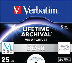 25 Verbatim Rohlinge M-Disc Blu-ray BD-R full printable 25GB 4x Jewelcase