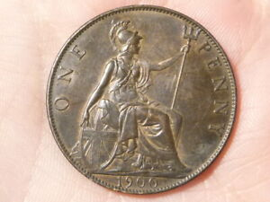 1900 Victoria Penny Old Head Issue Brown Toning NICE GRADE #H20