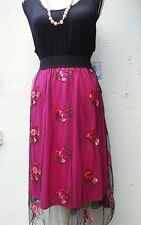 LULAROE  SIZE 2X BLACK TANK TOP & MATCHING 2X EMBROIDERED,FLORAL LOLA SKIRT