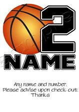 Iron on Transfer PERSONALISED BIRTHDAY BASKETBALL SPORTS JERSEY LOOK 14x12cm