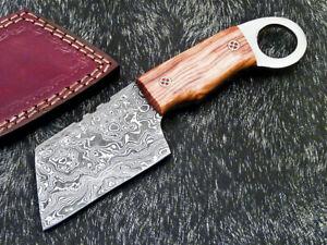 CUSTOM MADE DAMASCUS STEEL FULL TANG MINI CHOPPER KNIFE - OLIVE WOOD - PS-1360
