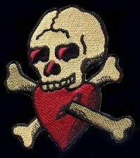 Tattoo Patch Skull and Bones Heart Old School Traditional Rockabilly Psychobilly