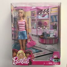 Barbie PET BOUTIQUE Gift Set - Doll + 2 Puppy Dogs + Accessories