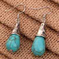 Charm Women's Blue Turquoise Charm Tibetan Silver Drop Dangle Earrings Jewelry