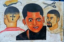 CONTEMPORARY PAINTED MEN'S BARBER'S SHOP SIGNBOARD GHANA/ Cross Design / 3x2 Ft.