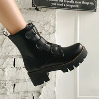 Womens Fashion Punk Round Toe Chunky Mid Heels Side Zipper Motorcycle Boots Size