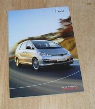 Toyota Previa Brochure 2003 - T2 T3 & T Spirit 2.4 VVTI & 2.0 D4D - UK Market