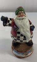 Christmas Music Box Santa Claus Ceramic Figurine Holiday Home Decoration Display
