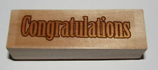 """Congratulations Rubber Stamp Wood Mounted 3 1/8"""" Long"""