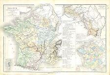 France Bassin du Rhin Ancienne Provinces Départements Corse MAP CARTE ATLAS 1882