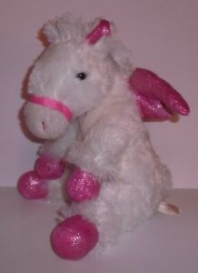 "11"" White Pegasus Horse Pink Hooves & Wings plush by Dan Dee"