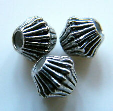 50pcs 7x6mm Metal Alloy Bicone Spacer Beads - Antique Silver