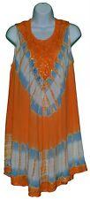 Women Sleeveless Orange Umbrella Dress See Through Beach Cover Loose Soft M L XL