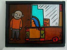 Tableau art contemporain - Huile sur panneau bois encadré-.