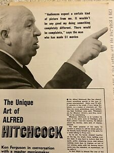 Alfred Hitchcock, Two Page Vintage Clipping